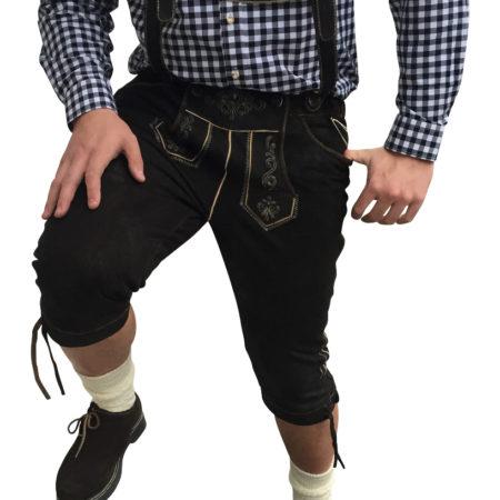 Schwarz Lederhosen mit hosenträger Kniebund