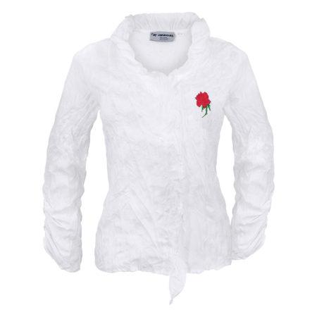 Bluse Bestickt Blumen Rose Weiß