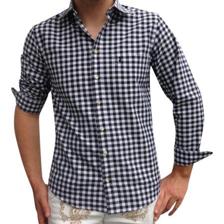 Herren Trachtenhemd schwarz-weiß kariert