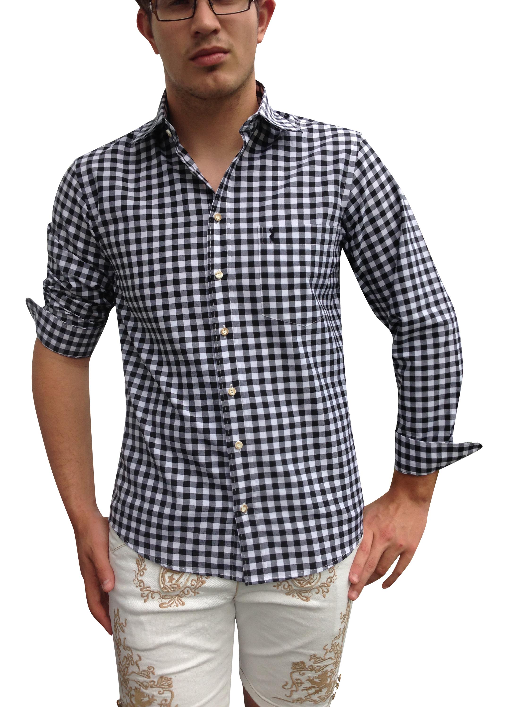 Prächtig Herren Trachtenhemd: schwarz-weiß kariert! Super. &BC_65