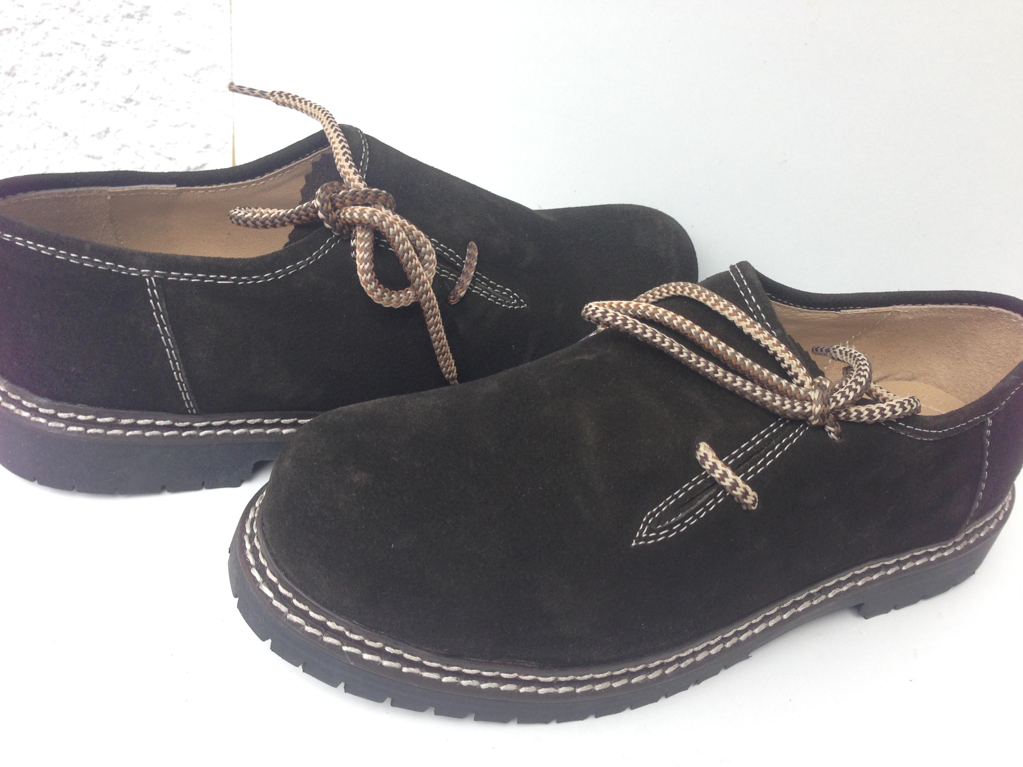 Trachten Set Anzug Herren Lederhose+Träger+Schuhe +Socken+Hemd Dark Braun Leder