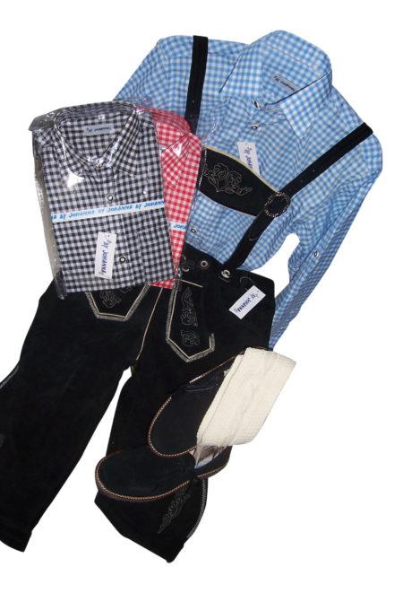 Trachtenset 5 tlg Lederhose Hemd Schuhe Träger Knirestrümpfe