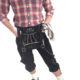 Trachtenlederhose Schwarz in Kniebund mit Hosenträger