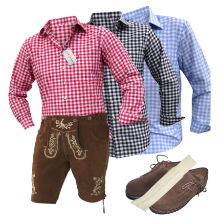 Trachten set Lederhose kurz Trachtenhemd Schuhe Socken Träger Gürtel