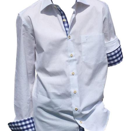 Trachtenhemd Hemden Karohemd Herren Weiß Blau Almsach