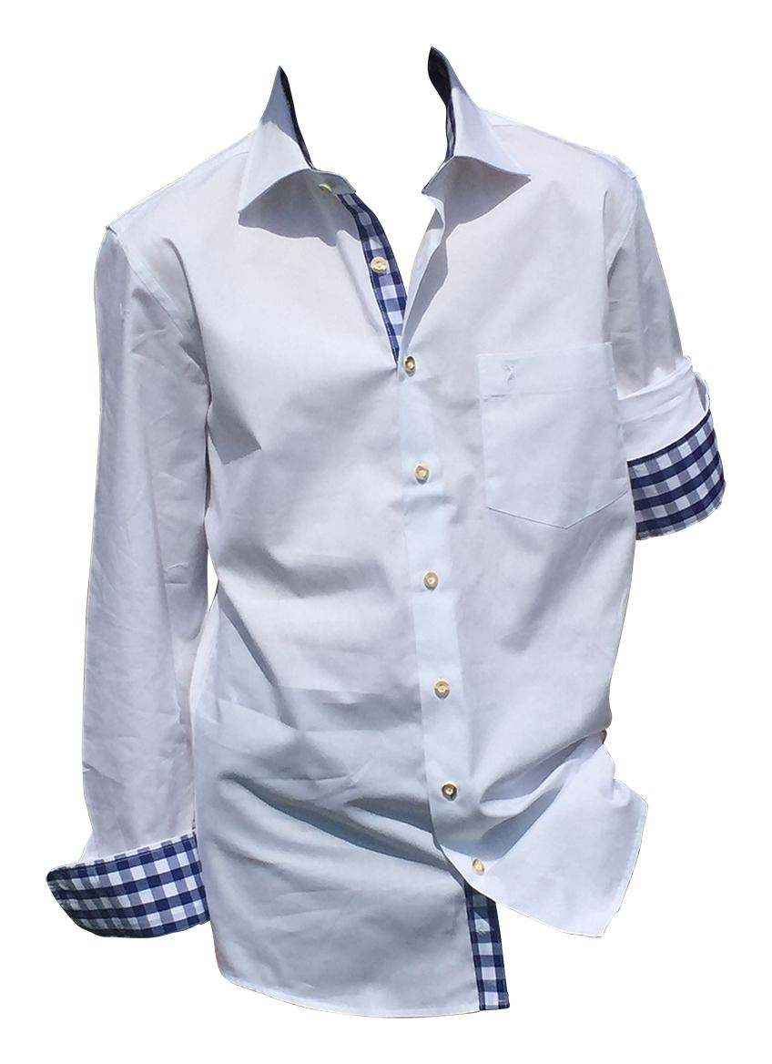 Trachten-hemden Herren Hemd Langarm 100/% Baumwolle Weiß Blau Kariert Oktoberfest