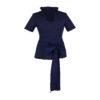 Damen Trachtenbluse Blau Tailliert mit Rüschen