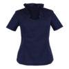Trachten- Bluse Rücken Ansicht Blau Tailliert