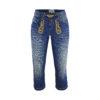 Lederhose Blau Kurz Stickerei Trachtenhosen Damen