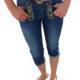 Trachtenlederhose Caprijeans Jeans Damen Blau