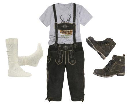 Trachtenset Herren mit Lederhose Stiefel shirt Socken