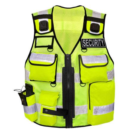 Security Weste Leuchtweste Taschen Reißverschluss Sanitäter Rettungsweste Sicherheitsweste Einsatzweste Warnweste Schutzweste