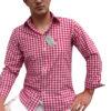 Freizeithemden Almsach Trachtenhemden Herren Lederhosen Jeans Rot Weiß